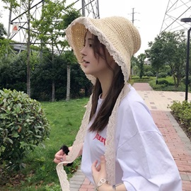 Sweet Straw Plaited Article Lace Summer Hat For Women