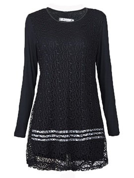 Round Neck Sleeve Lace Dress