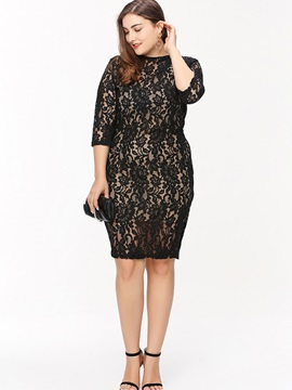 Three-Quarter Sleeve Backless See-Through Lace Dress