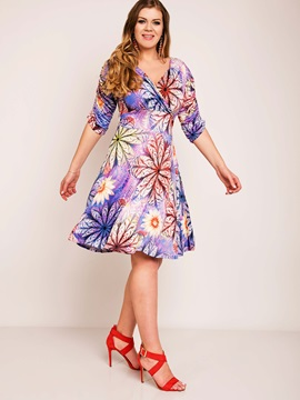 Floral Imprint V Neck Plus Size Skater Dress