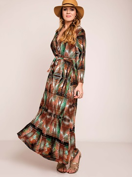 Floral Imprint V Neck Maxi Dress