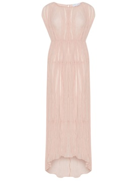 Pink Short Sleeve Round Neck Maxi Dress