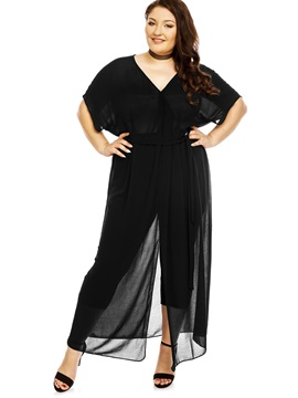 Black Short Sleeve V Neck Maxi Dress