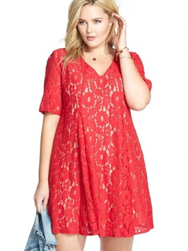 Red V Neck Short Sleeve Plus Size Lace Dress