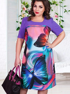 Plus Size Butterfly Printing Short Sleeve Day Dress