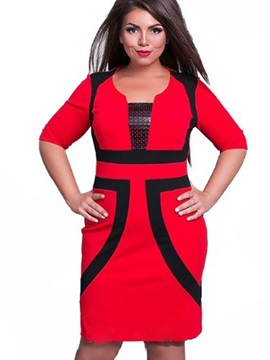 Color Block Half Sleeve Plus Size Bodycon Dress