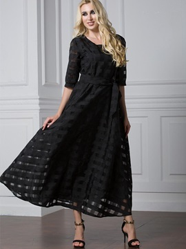 Black Half Sleeve Plus Size  Dress