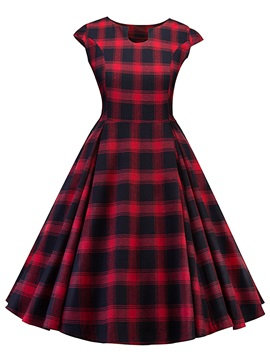 Cap Sleeve Plusee Plaid Women's Skater Dress