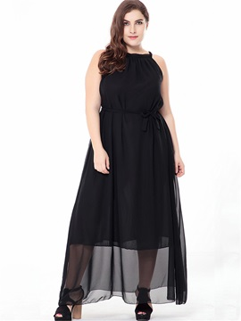 Tidebuy Plusee Lace-Up Pullover Chiffon Women's Maxi Dress