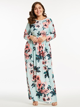 Tidebuy Floral Long Sleeves Plus Sizes Maxi Dress