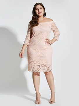 Plus Size Lace Backless Hollow Women's Bodycon Dress