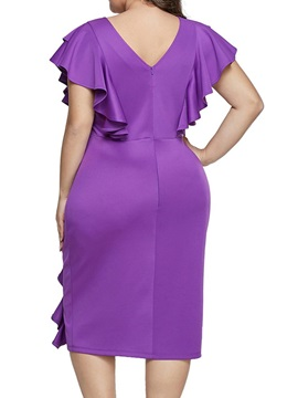 Plus Size Falbala Mid-Calf Bodycon Ruffle Sleeve Women's Dress
