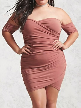 Backless Above Knee Half Sleeve Bodycon Plus Size Women