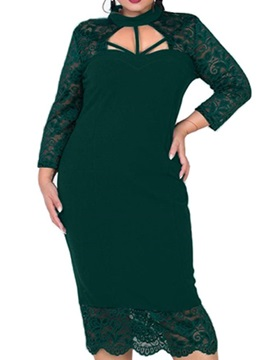 Plus Size 3/4 Sleeve Lace Mid-Calf Pullover Women's Dress