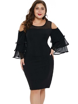 Knee-Length Patchwork Plus Size Ruffle Sleeve Women