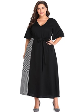 Plus Size V-Neck Half Sleeve Mid-Calf Pullover Casual Women