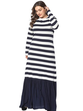Floor-Length Patchwork Round Neck Stripe Women