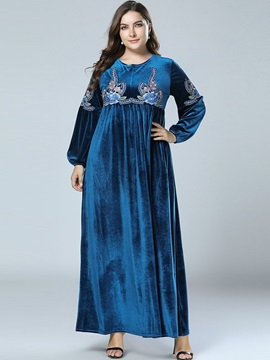 Embroidery Round Neck Ankle-Length Pullover Women