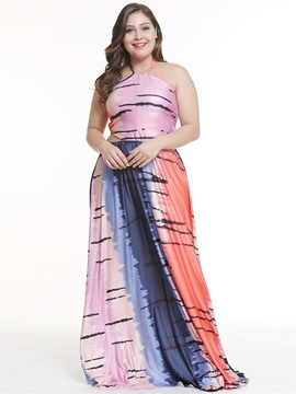Plus Size Sleeveless Lace-Up Floor-Length Color Block Halter Women's Dress