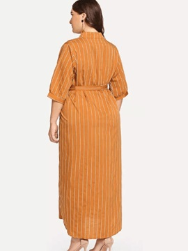 Plus Size V-Neck Ankle-Length 3/4 Sleeve Stripe A-Line Women's Dress