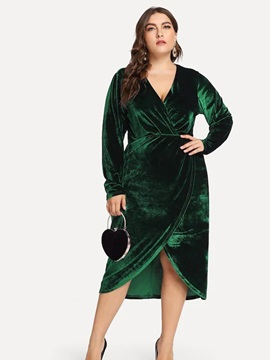 Plus Size Long Sleeve Mid-Calf V-Neck Pullover Women's Dress