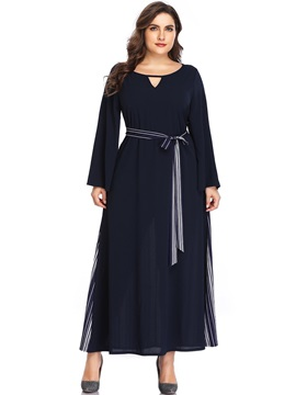 Lace-Up Long Sleeve Ankle-Length Plus Size Women