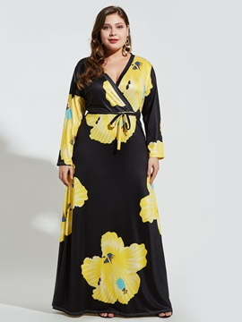 Print V-Neck Floor-Length Expansion Plus Size Women
