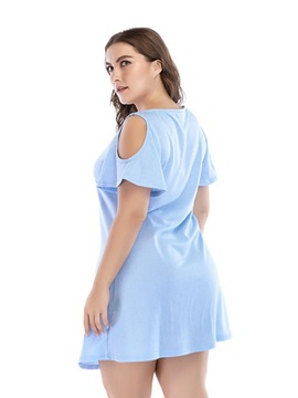 Short Sleeve Above Knee Hollow Women's Dress