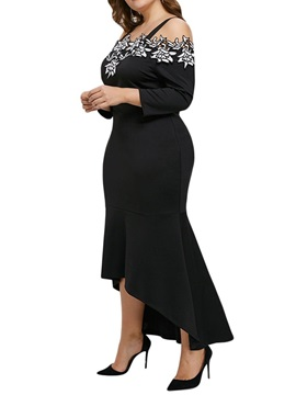 Plus Size Long Sleeve Off Shoulder Women's Asymmetric Dress
