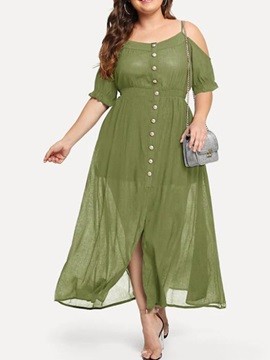 Plus Size Pleated Ankle-Length Half Sleeve Women