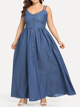 Plus Size Sleeveless Pleated Ankle-Length Women