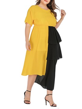 Plus Size Patchwork Mid-Calf Pullover Women's Maxi Dress