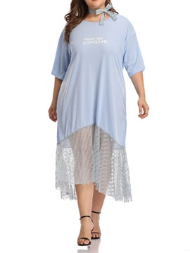 Plus Size 3/4 Sleeve Mid-Calf Asymmetrical Women's Dress