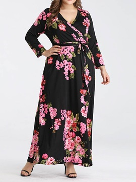 Plus Size Ankle-Length Lace-Up Long Sleeve Floral Women