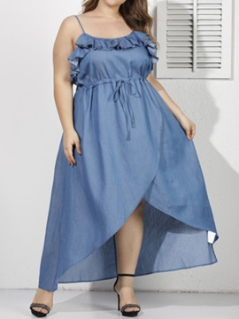 Plus Size Sleeveless Ankle-Length Lace-Up Women's Dress