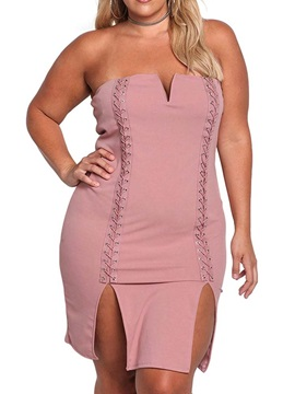 Plus Size Sleeveless Split Above Knee Pullover Women