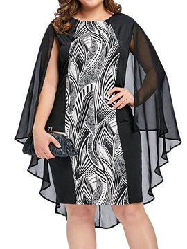 Plus Size Long Sleeve See-Through Round Neck Women's Casual Dress