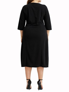 Plus size V-Neck Three-Quarter SleeveWomen's Dress
