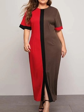 Ankle-Length Round Neck Patchwork Color Block Pullover Women's Dress