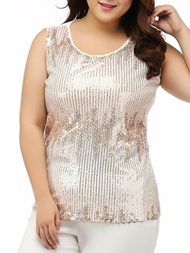Sleeveless Sequins-Print Plus Size Tank Top
