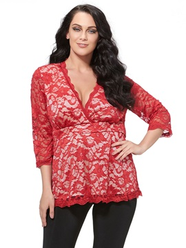 Stylish Lace Fabric Plus Size T-Shirt
