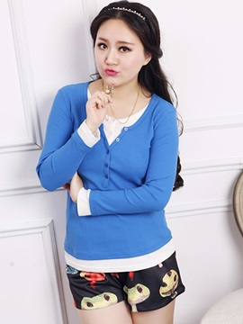 Casual Button Decoration Collar Plus Size T-Shirt