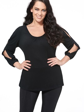 Stylish Sleeves V-Neck Plus Size Blouse