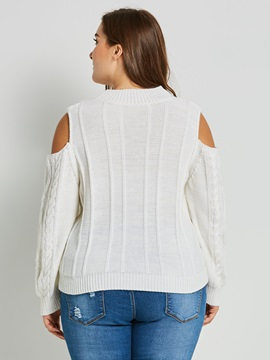 Hollow Long Sleeve Slim Round Neck Women's Sweater