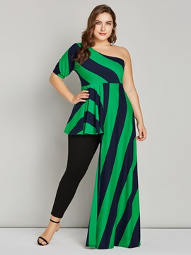 Color Block Asymmetric Plus Size Long Women's Blouse