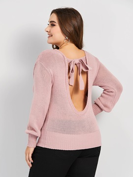 Plus Size Backless Round Neck Long Sleeve Women's Sweater