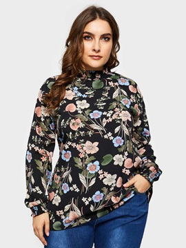 Plus Size Floral Print Stand Collar Long Sleeve Women's Blouse
