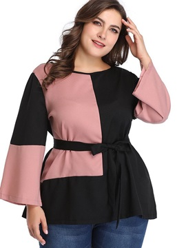 Plus Size Round Neck Color Block Flare Sleeve Mid-Length Women's Blouse