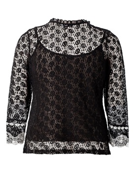 Plus Size Color Block Lace Three-Quarter Sleeve Women's Blouse