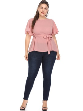 Plus Size Round Neck Plain Slim Casual Women's T-Shirt